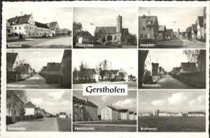 Gersthofen Hauptstrasse Kirche Rathaus Bahnhofstrasse Pestalozistrasse Brahmstrasse / Gersthofen /Augsburg LKR