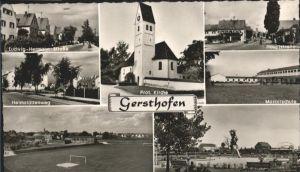 Gersthofen Mozartschule Kirche Hauptstrasse Ludwig Hermann Strasse  / Gersthofen /Augsburg LKR