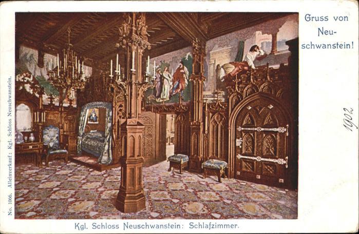 Schloss Neuschwanstein Schlafzimmer / Fuessen /Ostallgaeu