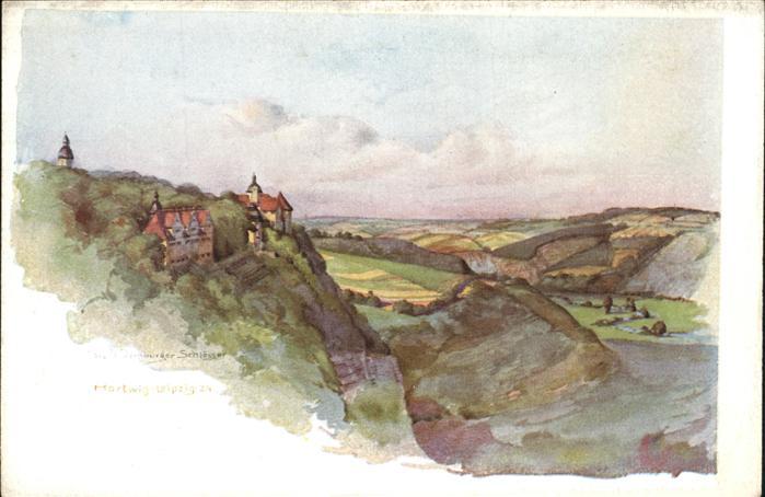 Dornburg Saale 3 Schloesser v. Dornburg Aquarell Kat. Dornburg Saale