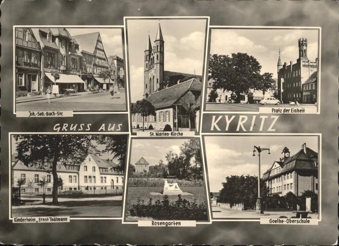 Kyritz Platz der Einheit Gothe Oberschule Rosengarten Kinderheim Ernst Thaelmann St Marien Kirche  Kat. Kyritz