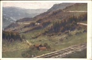 Winterbach Niederoesterreich Bahnserpentin K. Ludwig Prinz Kuenstlerkarte Kat. St. Anton an der Jessnitz