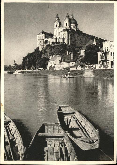 wz51777 Melk Donau Stift Melk Boote Donau Kategorie. Melk Alte Ansichtskarten