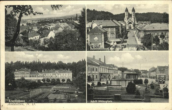 Amstetten Niederoesterreich Krankenhaus A. H. Platz Bahnhofstr.  Herz Jesu Kirche Kat. Amstetten