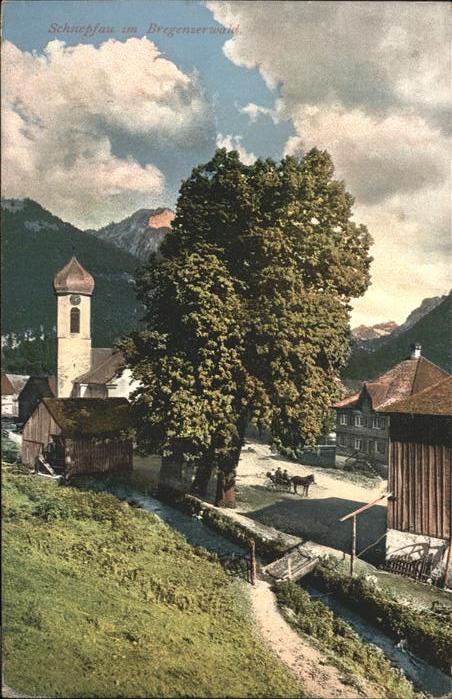 Schnepfau Vorarlberg Teilansicht Kirche Vorarlberg / Schnepfau /Bludenz-Bregenzer Wald