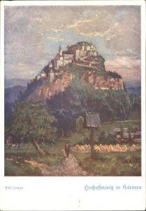 St Georgen Laengsee Burg Hochosterwitz Kaernten nach einem oelgemaelde von Karl Truppe Kat. St. Georgen am Laengsee