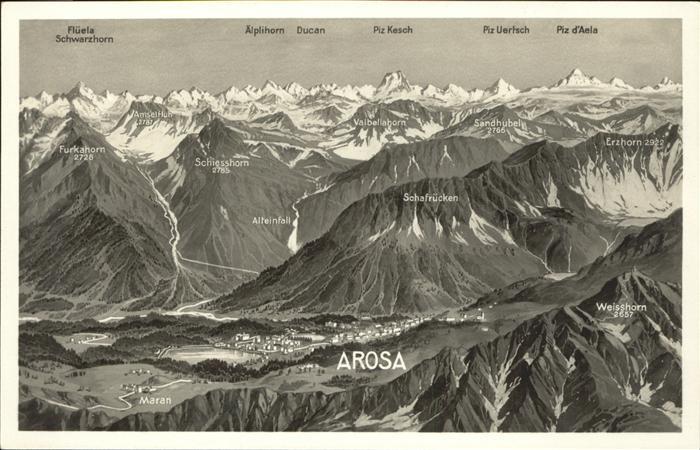 Arosa GR Gesamtuebersicht Arosa mit umliegenden Bergketten Kat. Arosa