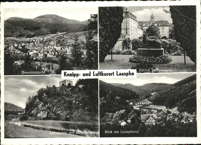 Laasphe Gesamtansicht Laasphe Schloss Wittgenstein Lahn Ehrenmal Laasphetal Kat. Bad Laasphe