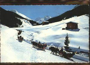 kk09073 Davos GR Schlittenfahrt ins Sertigtal Blick auf Mittagshorn Plattenhorn Hoch Ducan Kategorie. Davos Alte Ansichtskarten