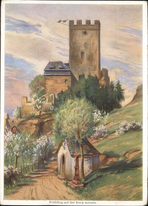 Kerpen Eifel Fruehling auf der Burg Kerpen Kuenstlerkart Kat. Kerpen (Eifel)