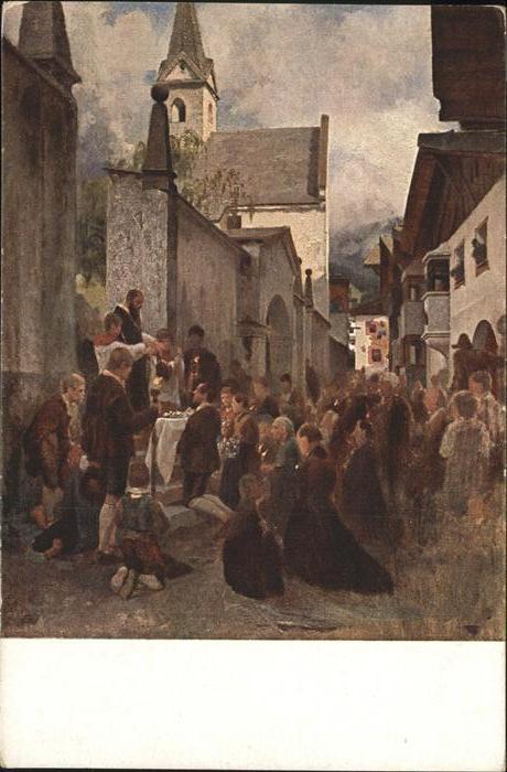 St Leonhard Kirchliche Feier in St. Leonhard Prof. Riefstahl Flachgau Kuenstlerkarte