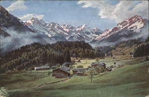 Schwand Oberstdorf Ortsansicht mit Alpenpanorama Kuenstlerkarte Kat. Oberstdorf