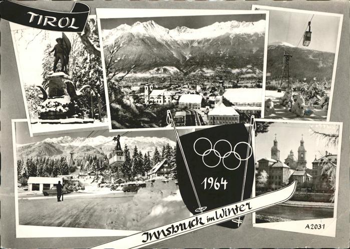 kk12625 Innsbruck Tirol Olympische Winterspiele 1964 Gondelbahn Kirche Denkmal Kategorie. Innsbruck Alte Ansichtskarten