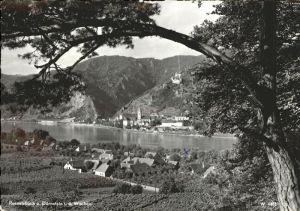 Duernstein Wachau Panorama Rossatzbach und Duernstein am Donau Ufer / Duernstein /Waldviertel