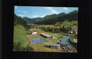 Fieberbrunn Tirol Panorama Schwimmbad Pillerseetal Kitzbuehler Alpen Kat. Fieberbrunn