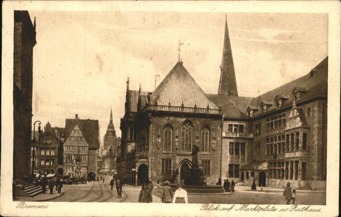 Bremen Blick auf Marktplatz und Rathaus Kat. Bremen