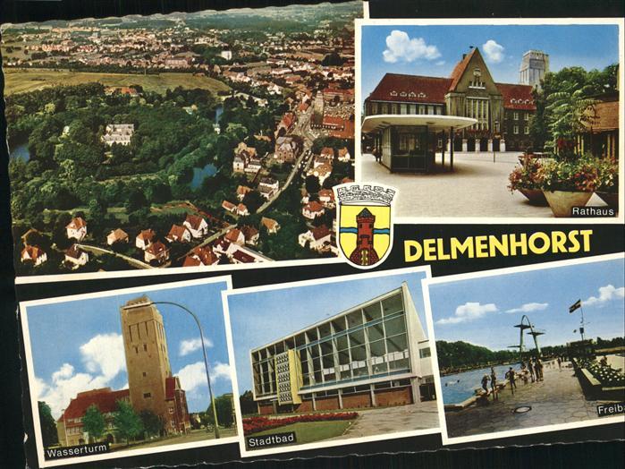 Delmenhorst Panorama Wasserturm Stadtbad Rathaus Kat. Delmenhorst