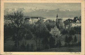Starnberg Panorama mit Starnberger See und Alpen Kat. Starnberg