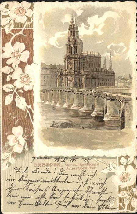 Dresden kath. Hofkirche Augustusbruecke Kat. Dresden