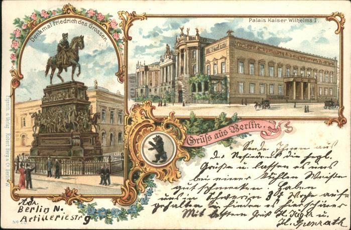 Berlin Denkmal Friedrich des Grossen Palais Kaiser Wilhelm I. Kat. Berlin