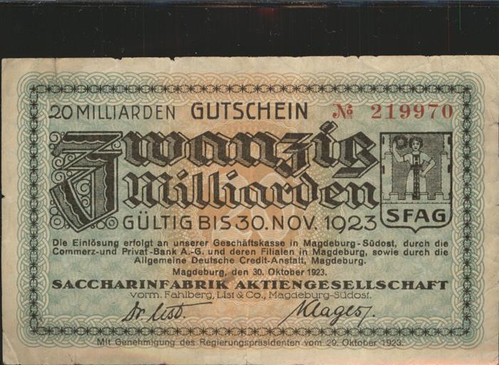 Magdeburg Sachsen Anhalt Gutschein Zwanzig Milliarden Saccharinfrabrik Aktiengesellschaft Kat. Magdeburg