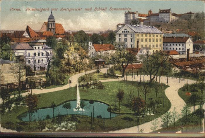 Pirna Friedenspark Amtsgericht Sonnenstein Kat. Pirna