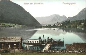 Goessl Steiermark Blick ueber den Grundlsee Landungssteg Kat. Schachen