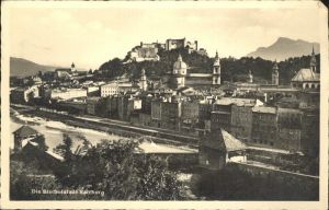 Salzburg Oesterreich Partie an der Salzach Festung Hohensalzburg Kat. Salzburg
