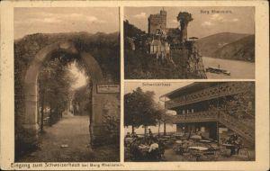 Trechtingshausen Burg Rheinstein Schweizerhaus Terrasse Schiffe / Trechtingshausen /Mainz-Bingen LKR