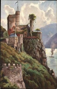 Trechtingshausen Burg Rheinstein Schloss Kuenstlerkarte / Trechtingshausen /Mainz-Bingen LKR