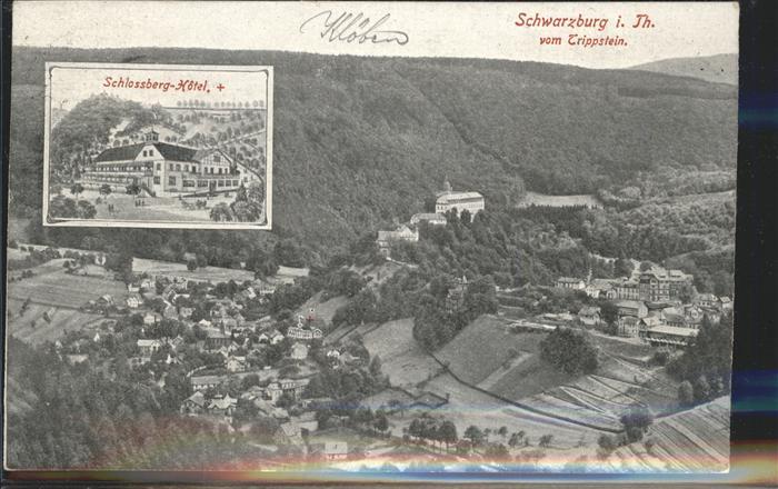 Schwarzburg Thueringer Wald Blick vom Trippstein Schlossberg Hotel Kat. Schwarzburg