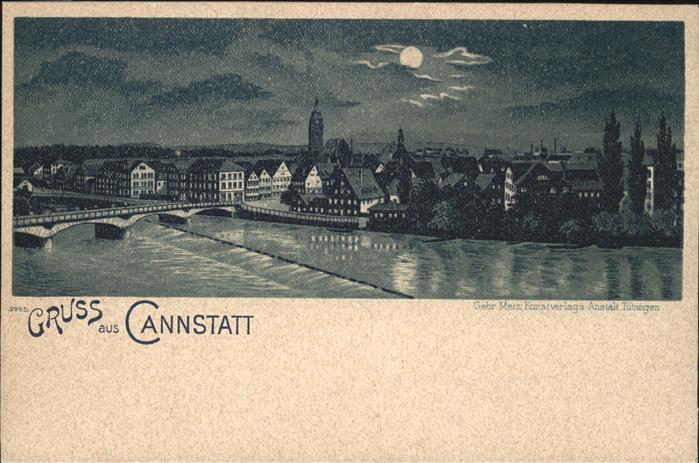 Bad Cannstatt Teilansicht Neckar Bruecke im Mondschein Kat. Stuttgart