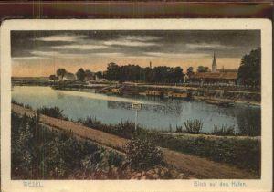 Wesel Rhein Blick auf den Hafen Kat. Wesel