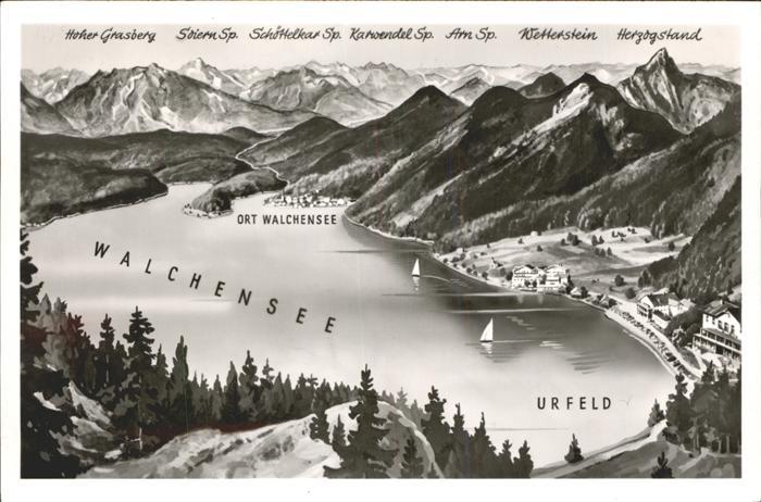 Walchensee Der Walchensee mit Umgebung Panoramakarte Kat. Kochel a.See
