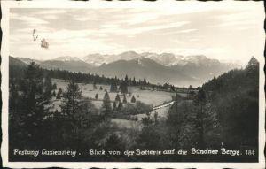 St Luzisteig Festung Luziensteig Blick von der Batterie auf die Buendner Berge Kat. Flaesch