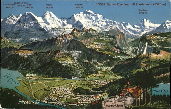 Interlaken BE Panoramakarte Berner Oberland mit Harderkulm Brienzer See Thuner See Kat. Interlaken