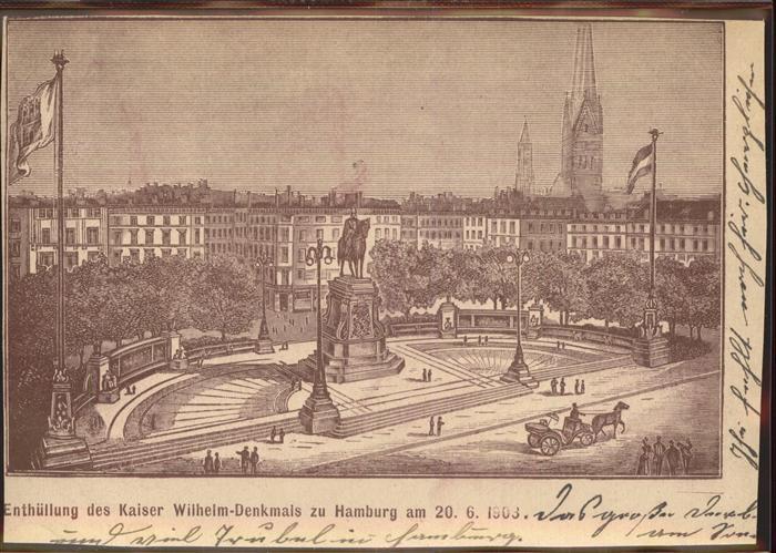 Hamburg Enthuellung des Kaiser Wilhelm Denkmals Kat. Hamburg