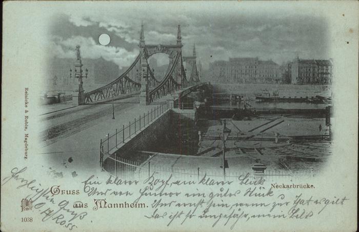 Mannheim Neckarbruecke bei Nacht Mond Kat. Mannheim