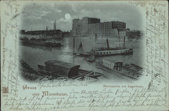 Mannheim Hafen Lagerhaus bei Nacht Mond Schiffe Kat. Mannheim