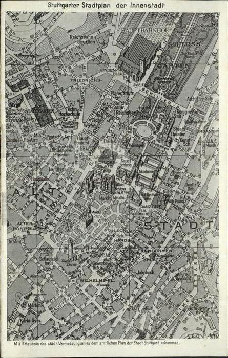 Stuttgart Stadtplan der Innenstadt Kat. Stuttgart