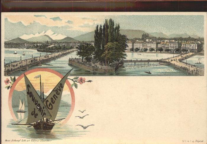 Geneve GE Lac Leman port bateau Kat. Geneve