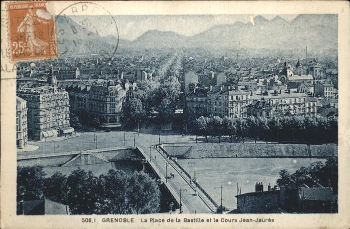 Grenoble La Place de la Bastille et le Cours Jean Jaures pont Stempel auf AK Kat. Grenoble