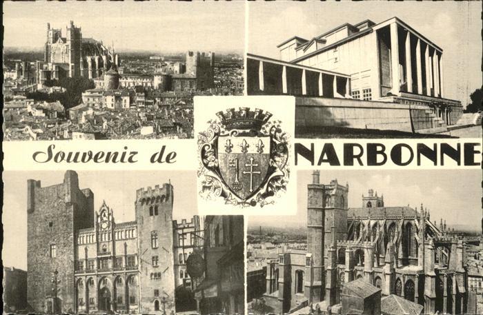 Narbonne Aude Vue generale Palais du Travail Hotel de Ville Cathedrale St. Just Wappen Kat. Narbonne