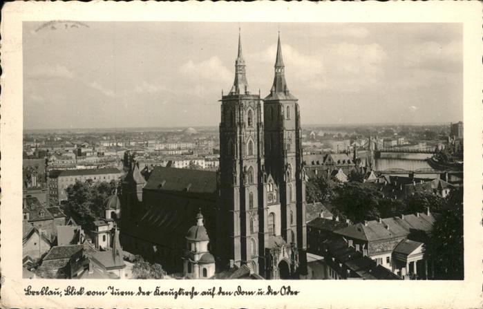 Breslau Niederschlesien Blick vom Turm der Kreuzkirche auf den Dom und die Oder Kat. Wroclaw
