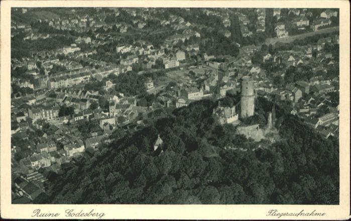 Bad Godesberg Fliegeraufnahme Ruine Godesberg *