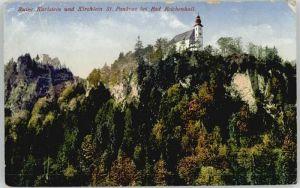 Bad Reichenhall Ruine Karlstein St. Pankratz Kirche  x 1922