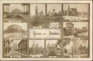 Breslau Niederschlesien Hauptbahnhof Postcheckamt Dom Rathaus Domstrasse Jahrhunderthaus Liebichhoehe  / Wroclaw /