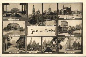 Breslau Niederschlesien Bahnhof Park Postscheckamt Dom Rathaus Domstrasse Jahrhunderthalle  / Wroclaw /