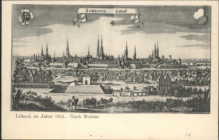 Luebeck im Jahre 1653 nach Merian / Luebeck /Luebeck Stadtkreis
