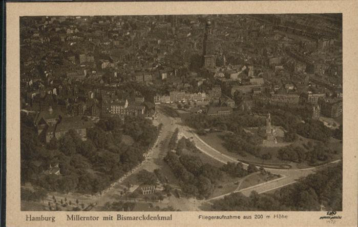 Hamburg Millerntor Bismarck Denkmal Fliegeraufnahme  / Hamburg /Hamburg Stadtkreis